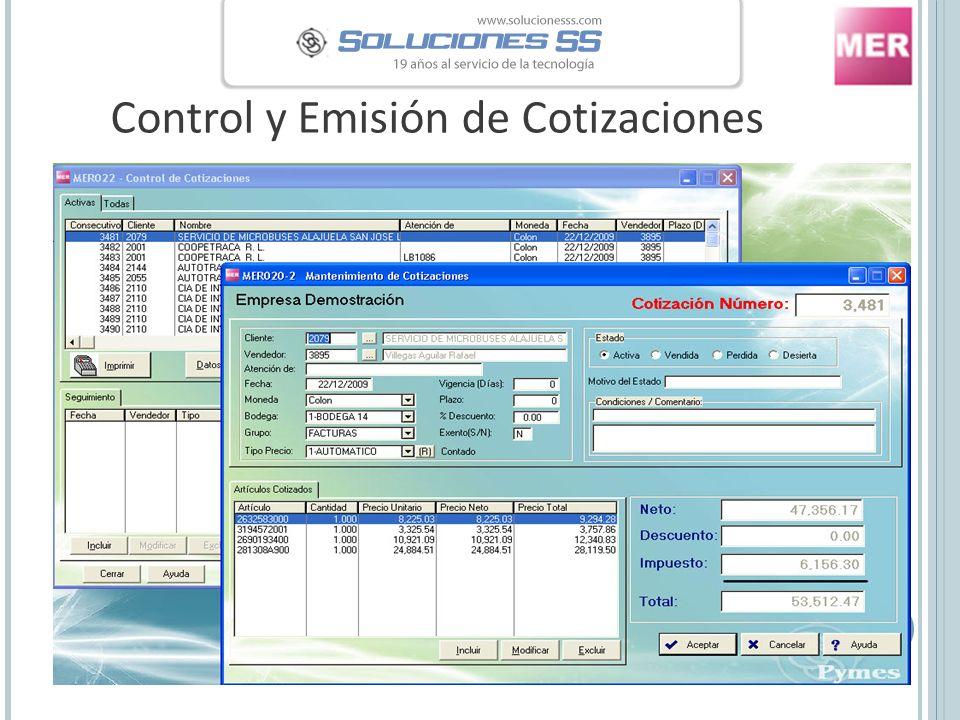 Control y Emisión de Cotizaciones