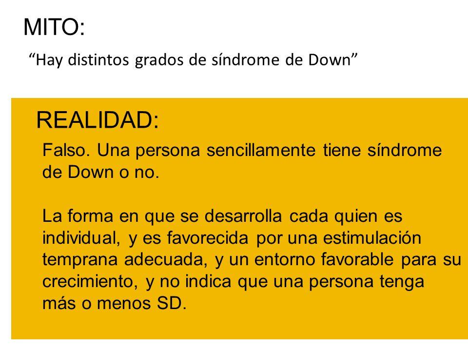 Hay distintos grados de síndrome de Down REALIDAD: Falso. Una persona sencillamente tiene síndrome de Down o no. La forma en que se desarrolla cada qu