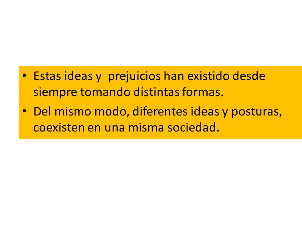 Estas ideas y prejuicios han existido desde siempre tomando distintas formas. Del mismo modo, diferentes ideas y posturas, coexisten en una misma soci
