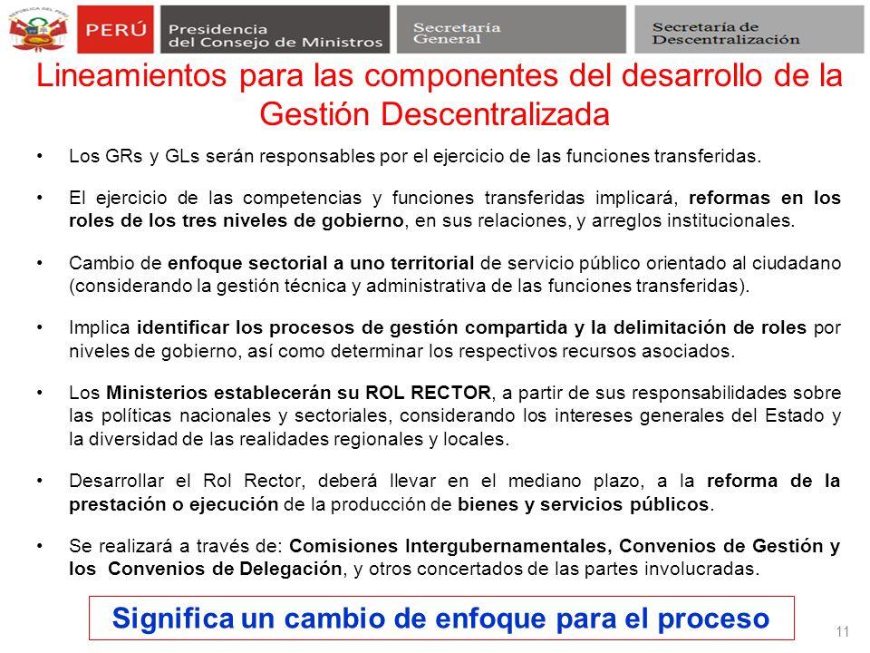Los GRs y GLs serán responsables por el ejercicio de las funciones transferidas. El ejercicio de las competencias y funciones transferidas implicará,