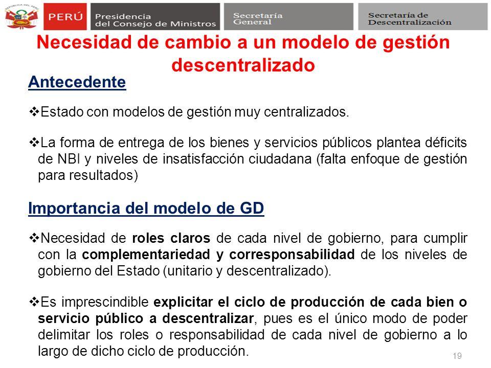 Necesidad de cambio a un modelo de gestión descentralizado 19 Antecedente Estado con modelos de gestión muy centralizados. La forma de entrega de los