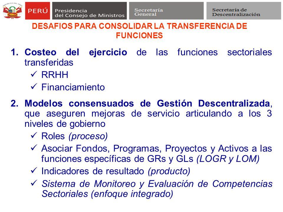 DESAFIOS PARA CONSOLIDAR LA TRANSFERENCIA DE FUNCIONES 1.Costeo del ejercicio de las funciones sectoriales transferidas RRHH Financiamiento 2.Modelos