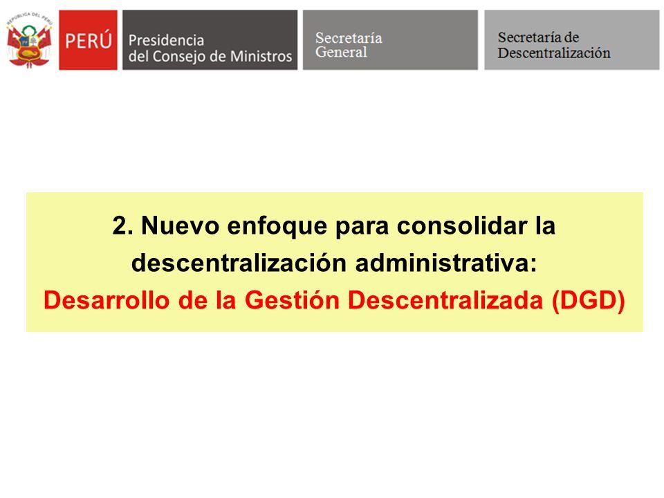 2. Nuevo enfoque para consolidar la descentralización administrativa: Desarrollo de la Gestión Descentralizada (DGD)