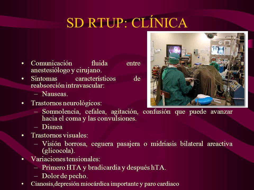 SD RTUP: CLÍNICA Comunicación fluida entre anestesiólogo y cirujano. Sintomas característicos de reabsorción intravascular: –Nauseas. Trastornos neuro