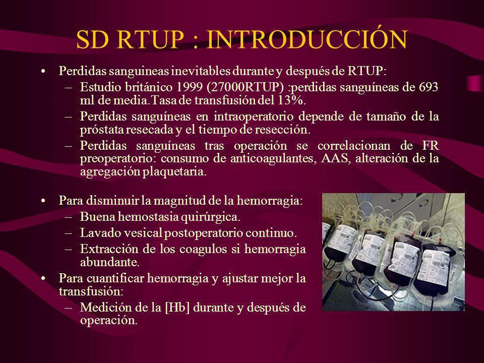 SD RTUP : INTRODUCCIÓN Perdidas sanguineas inevitables durante y después de RTUP: –Estudio británico 1999 (27000RTUP) :perdidas sanguíneas de 693 ml d