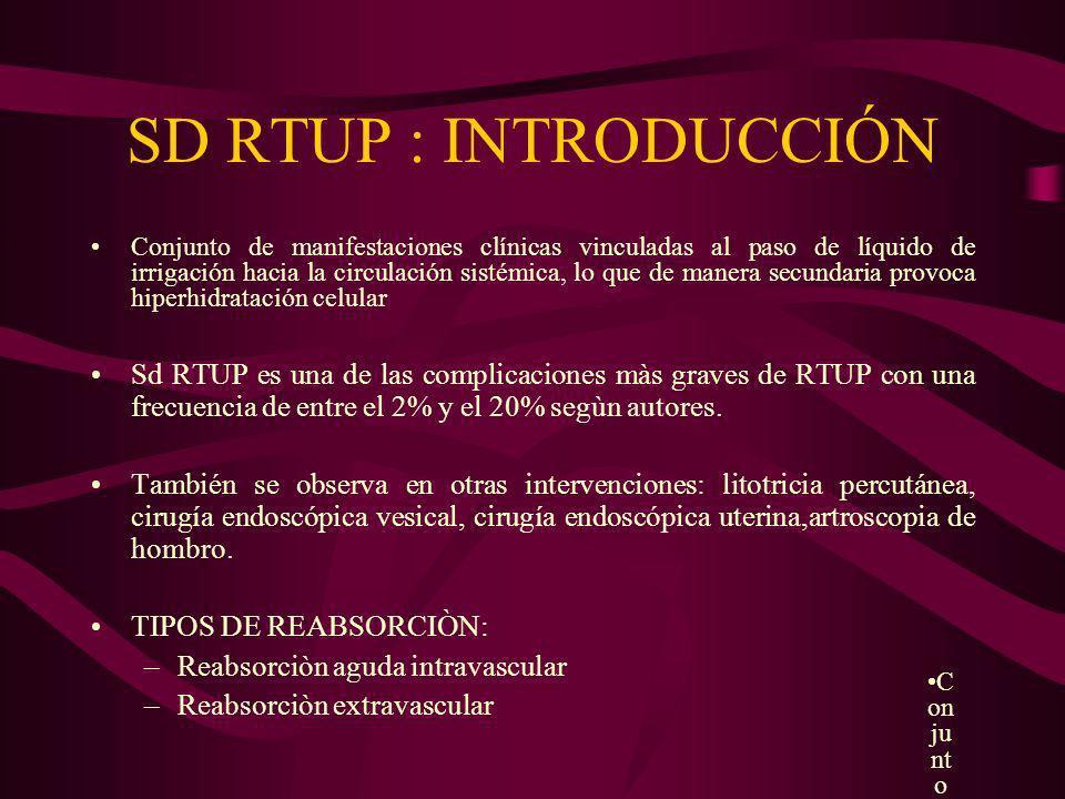 SD RTUP : INTRODUCCIÓN Conjunto de manifestaciones clínicas vinculadas al paso de líquido de irrigación hacia la circulación sistémica, lo que de mane