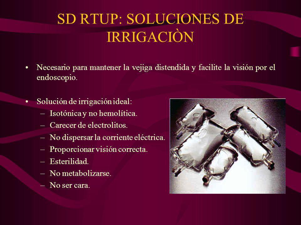 SD RTUP: SOLUCIONES DE IRRIGACIÒN Necesario para mantener la vejiga distendida y facilite la visión por el endoscopio. Solución de irrigación ideal: –