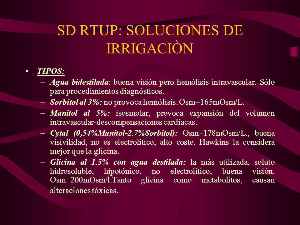 SD RTUP: SOLUCIONES DE IRRIGACIÒN TIPOS: –Agua bidestilada: buena visión pero hemólisis intravascular. Sólo para procedimientos diagnósticos. –Sorbito
