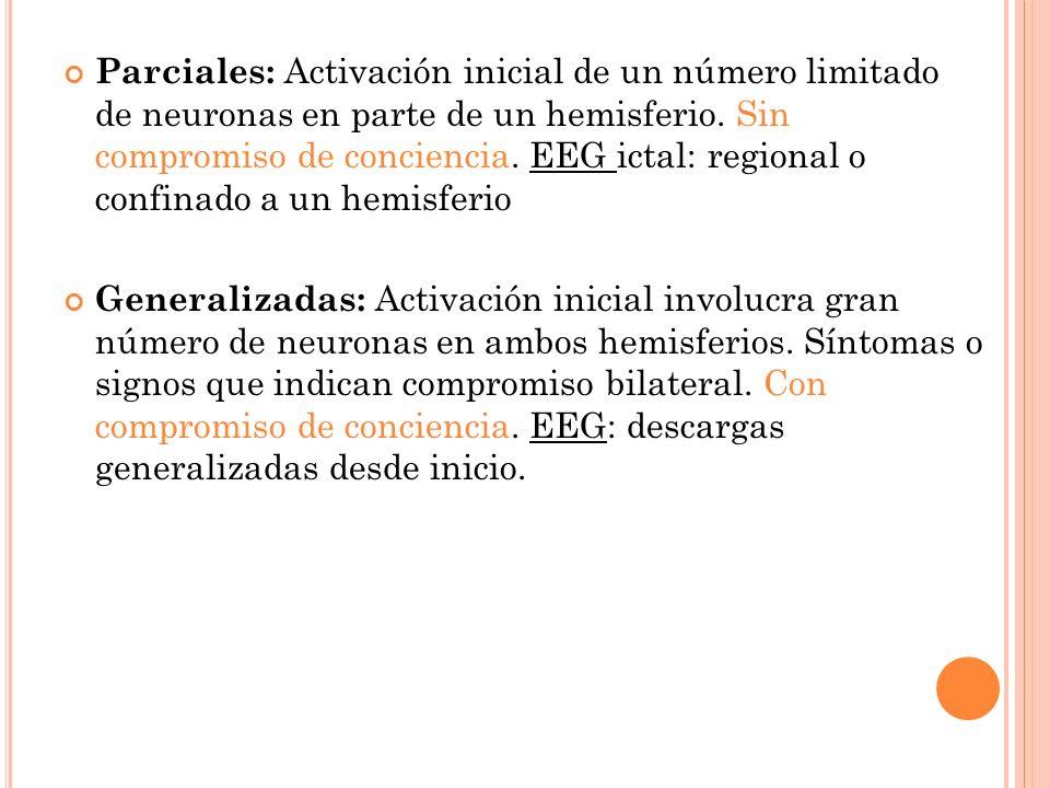 Parciales: Activación inicial de un número limitado de neuronas en parte de un hemisferio. Sin compromiso de conciencia. EEG ictal: regional o confina