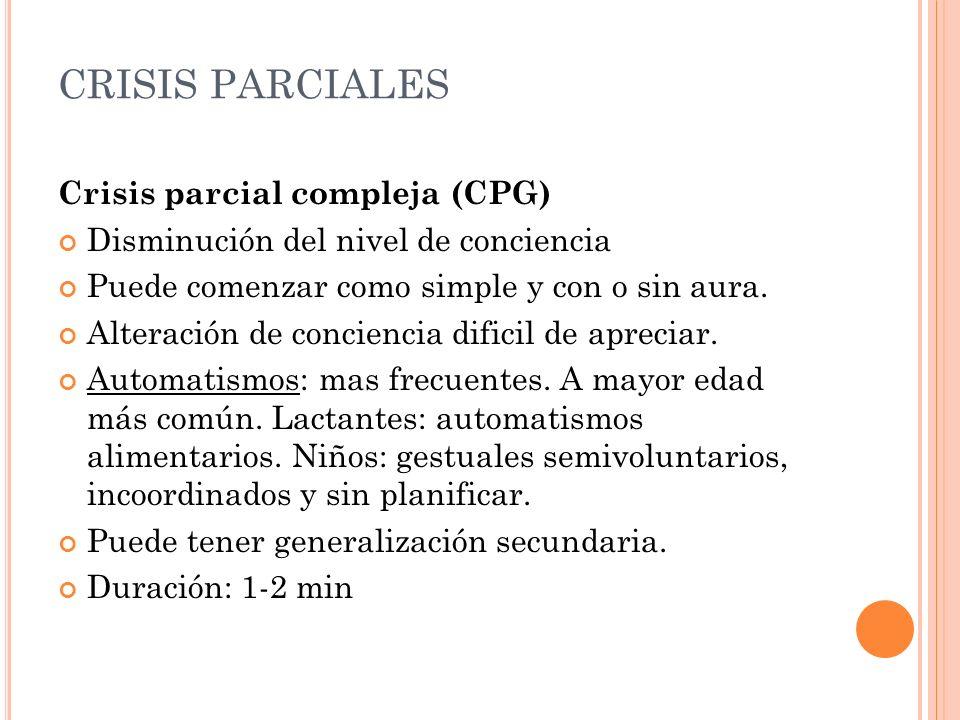 CRISIS PARCIALES Crisis parcial compleja (CPG) Disminución del nivel de conciencia Puede comenzar como simple y con o sin aura. Alteración de concienc
