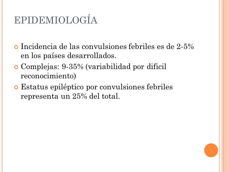 EPIDEMIOLOGÍA Incidencia de las convulsiones febriles es de 2-5% en los países desarrollados. Complejas: 9-35% (variabilidad por dificil reconocimient