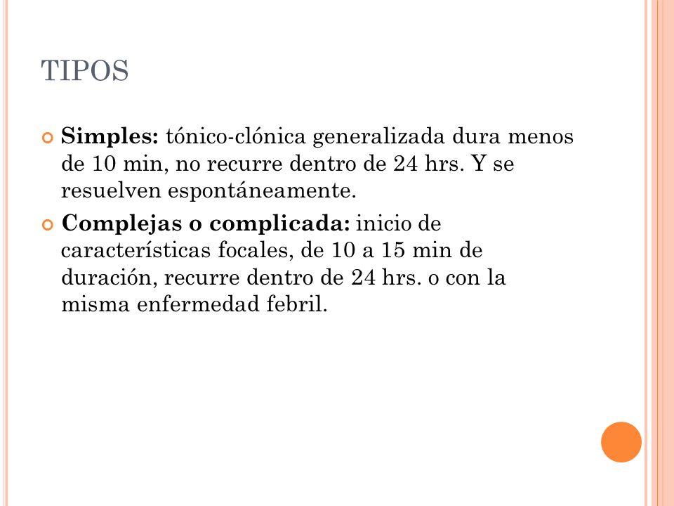 TIPOS Simples: tónico-clónica generalizada dura menos de 10 min, no recurre dentro de 24 hrs. Y se resuelven espontáneamente. Complejas o complicada: