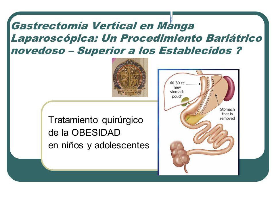 Gastrectomía Vertical en Manga Laparoscópica: Un Procedimiento Bariátrico novedoso – Superior a los Establecidos ? Tratamiento quirúrgico de la OBESID