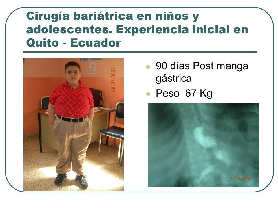 Cirugía bariátrica en niños y adolescentes. Experiencia inicial en Quito - Ecuador 90 días Post manga gástrica Peso 67 Kg