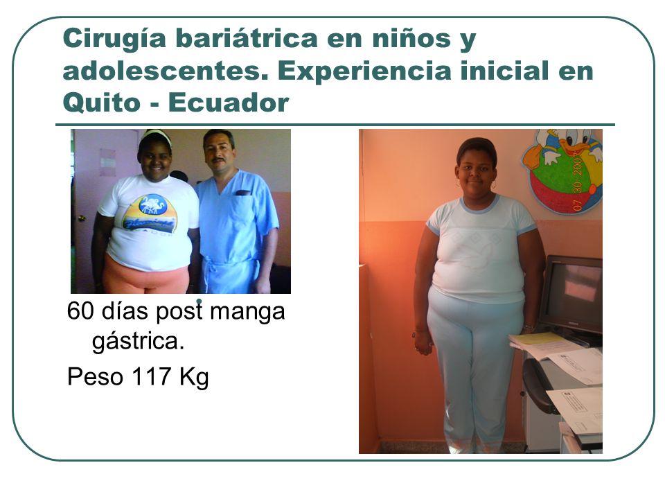 Cirugía bariátrica en niños y adolescentes. Experiencia inicial en Quito - Ecuador 60 días post manga gástrica. Peso 117 Kg