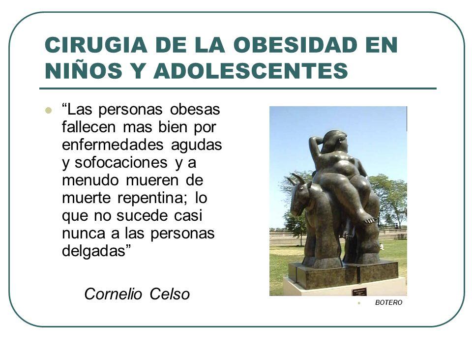 CIRUGIA DE LA OBESIDAD EN NIÑOS Y ADOLESCENTES Las personas obesas fallecen mas bien por enfermedades agudas y sofocaciones y a menudo mueren de muert