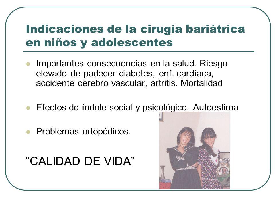 Indicaciones de la cirugía bariátrica en niños y adolescentes Importantes consecuencias en la salud. Riesgo elevado de padecer diabetes, enf. cardíaca