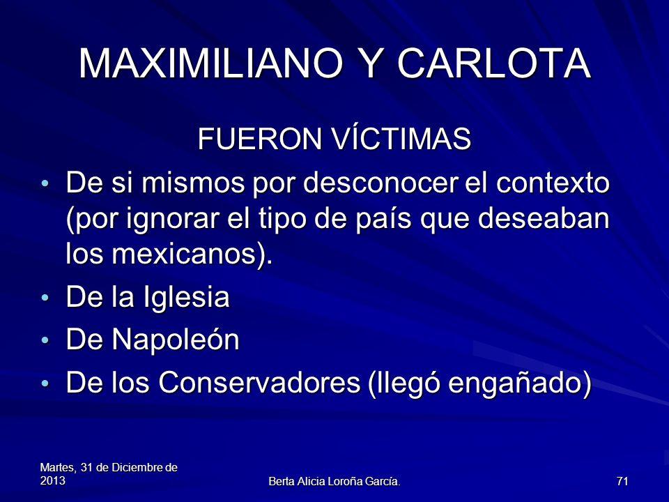 MAXIMILIANO Y CARLOTA FUERON VÍCTIMAS De si mismos por desconocer el contexto (por ignorar el tipo de país que deseaban los mexicanos). De si mismos p