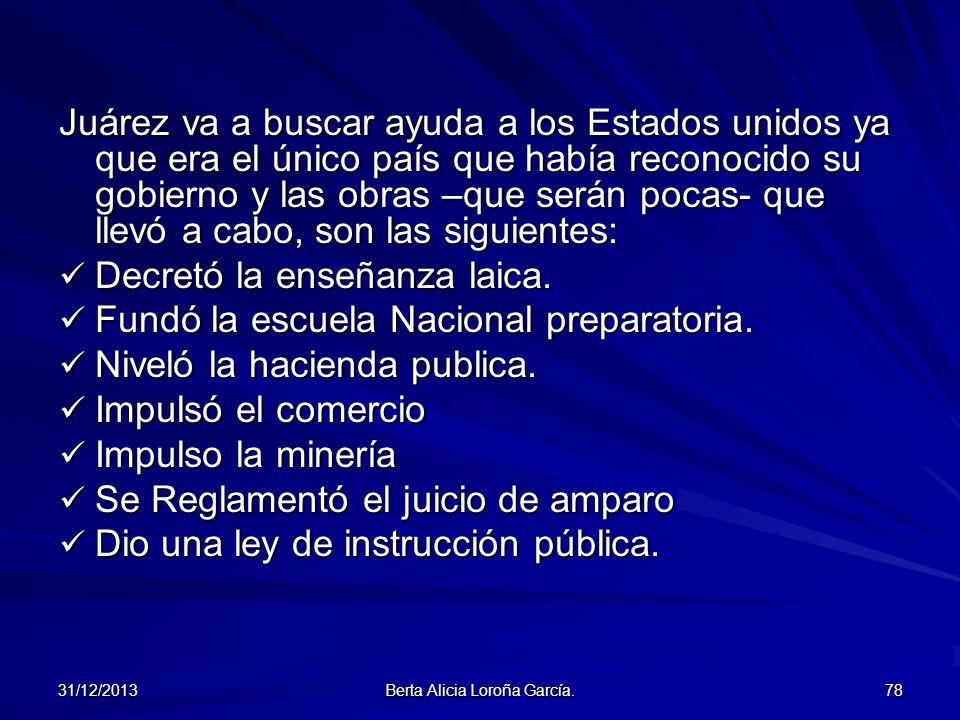 31/12/2013 Berta Alicia Loroña García. 78 Juárez va a buscar ayuda a los Estados unidos ya que era el único país que había reconocido su gobierno y la