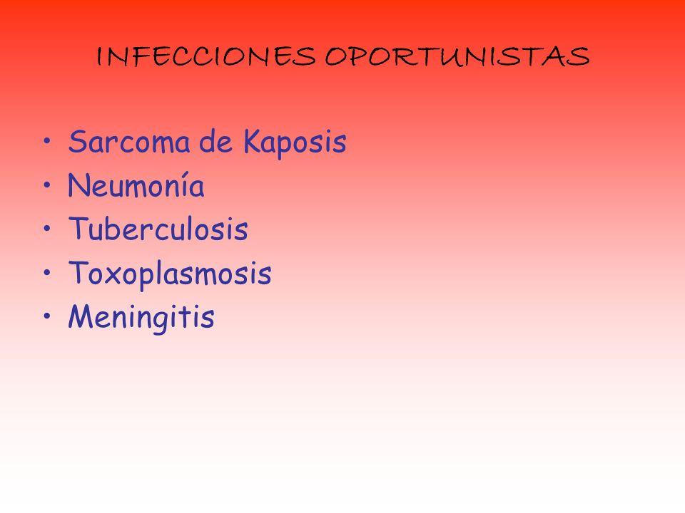 INFECCIONES OPORTUNISTAS Sarcoma de Kaposis Neumonía Tuberculosis Toxoplasmosis Meningitis