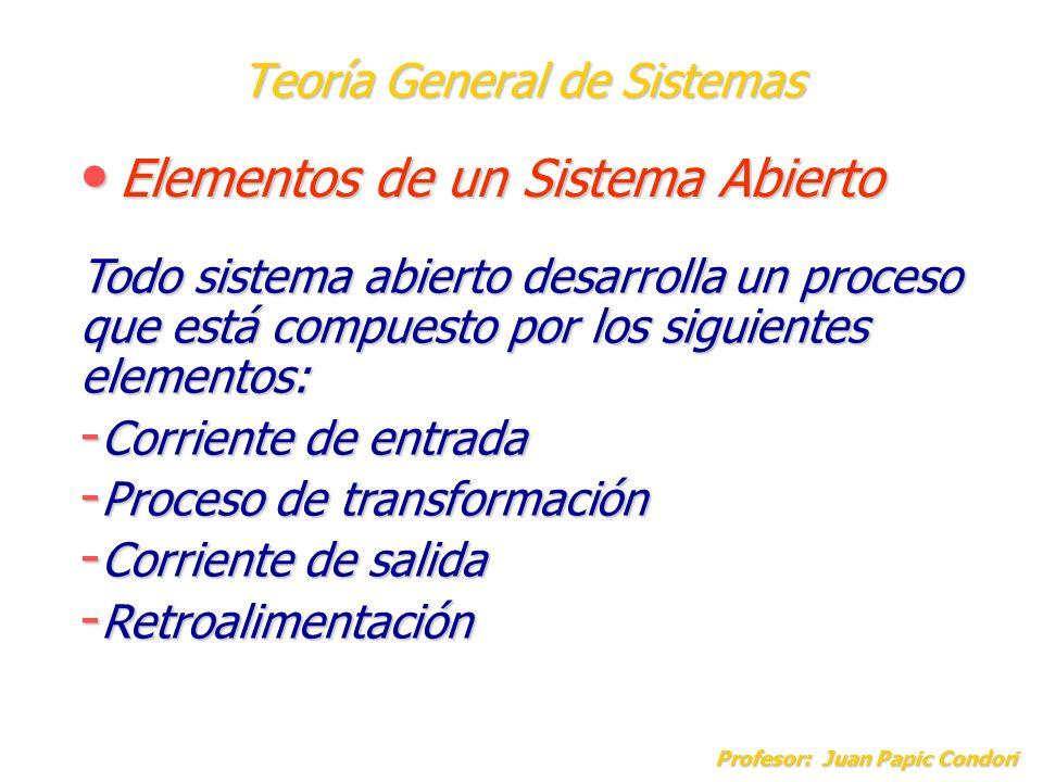 Teoría General de Sistemas Elementos de un Sistema Abierto Elementos de un Sistema Abierto Profesor: Juan Papic Condori Todo sistema abierto desarroll