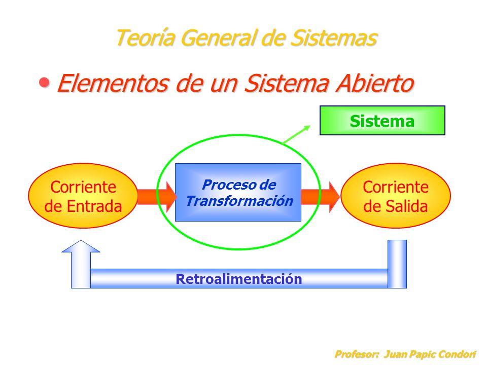 Teoría General de Sistemas Elementos de un Sistema Abierto Elementos de un Sistema Abierto Profesor: Juan Papic Condori Corriente de Entrada Corriente