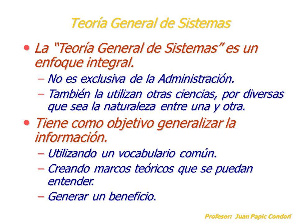 Teoría General de Sistemas Profesor: Juan Papic Condori La Teoría General de Sistemas es un enfoque integral. La Teoría General de Sistemas es un enfo