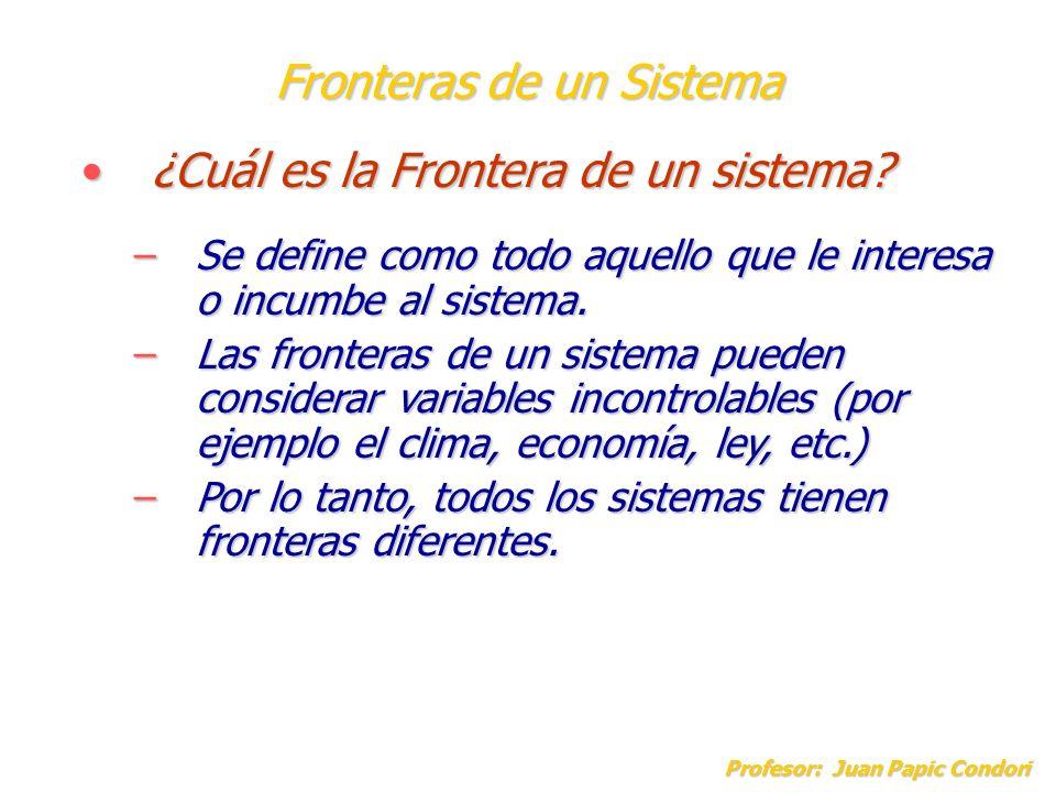 Fronteras de un Sistema Profesor: Juan Papic Condori ¿Cuál es la Frontera de un sistema?¿Cuál es la Frontera de un sistema? –Se define como todo aquel