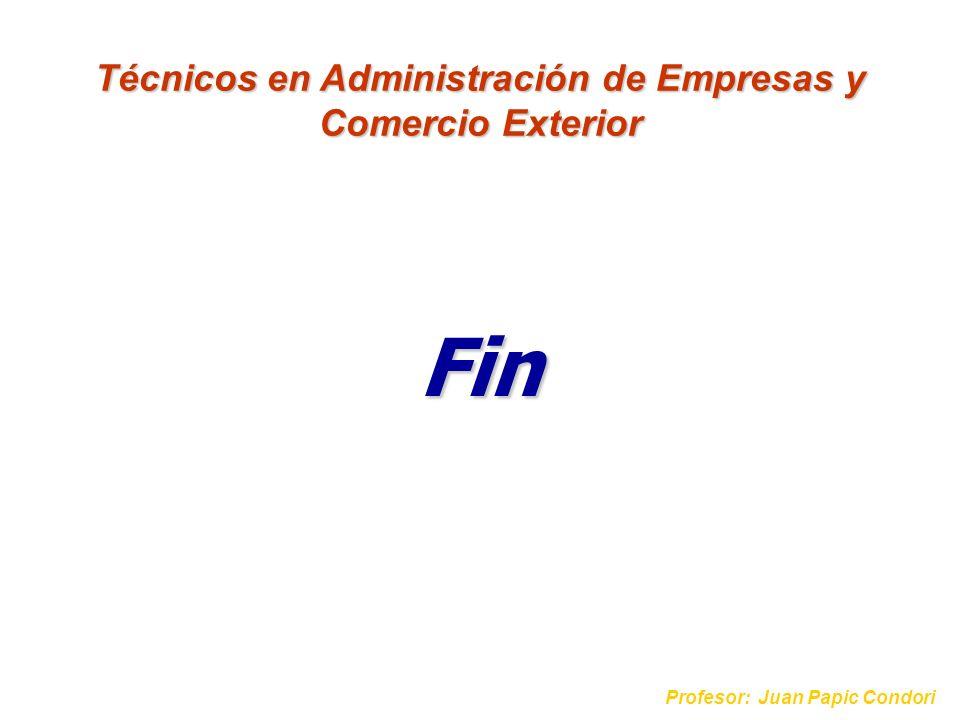Fin Profesor: Juan Papic Condori Técnicos en Administración de Empresas y Comercio Exterior