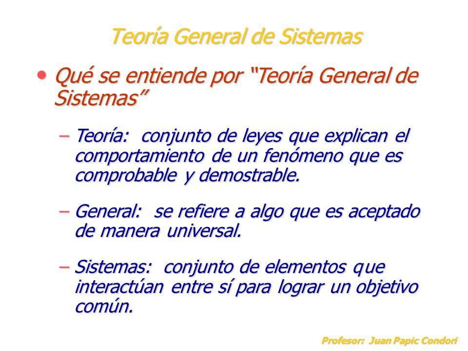 Teoría General de Sistemas Profesor: Juan Papic Condori Qué se entiende por Teoría General de Sistemas Qué se entiende por Teoría General de Sistemas