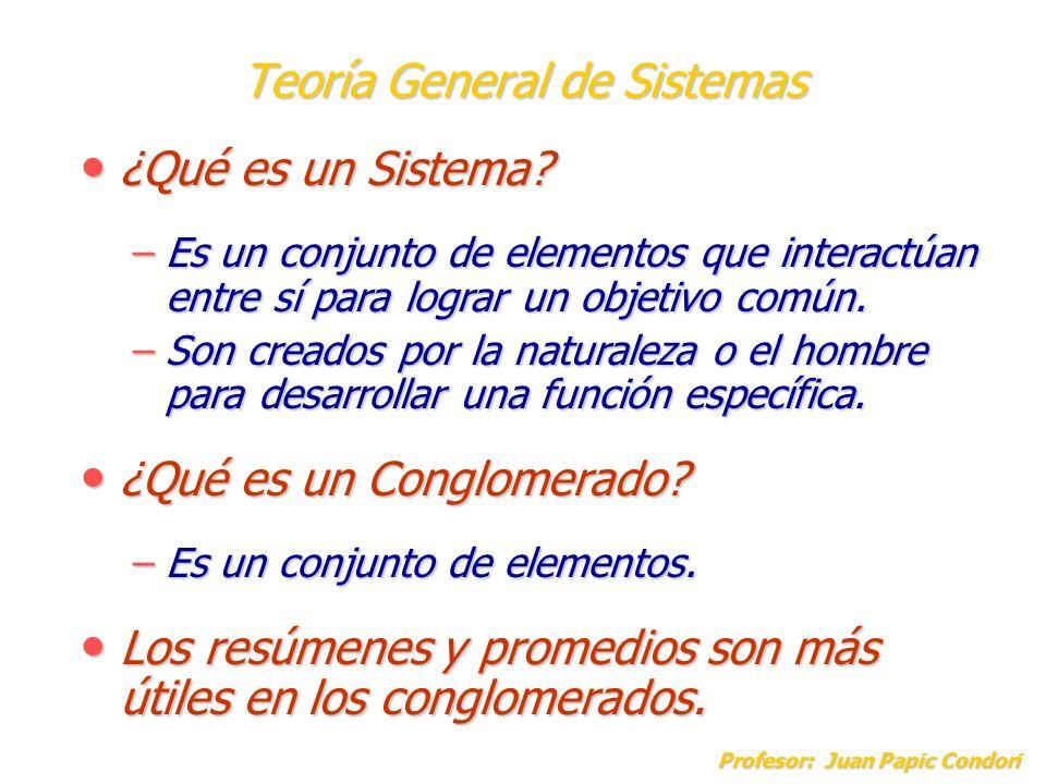 Teoría General de Sistemas Profesor: Juan Papic Condori ¿Qué es un Sistema? ¿Qué es un Sistema? –Es un conjunto de elementos que interactúan entre sí