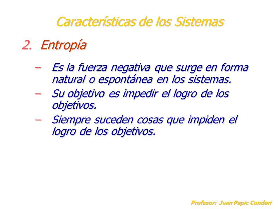 Características de los Sistemas Profesor: Juan Papic Condori 2.Entropía –Es la fuerza negativa que surge en forma natural o espontánea en los sistemas