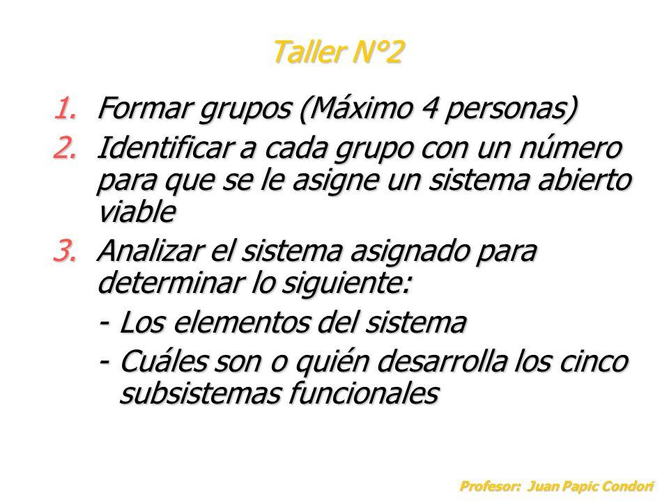 Profesor: Juan Papic Condori 1.Formar grupos (Máximo 4 personas) 2.Identificar a cada grupo con un número para que se le asigne un sistema abierto via