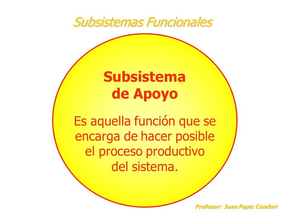 Subsistemas Funcionales Profesor: Juan Papic Condori Profesor: Juan Papic Condori Subsistema de Apoyo Es aquella función que se encarga de hacer posib