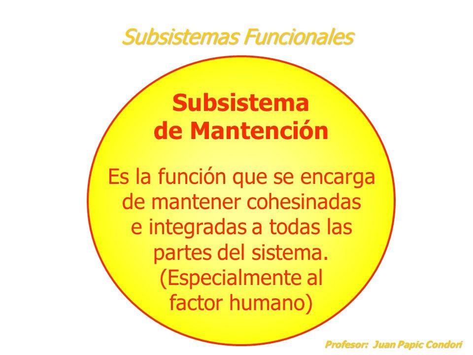 Subsistemas Funcionales Profesor: Juan Papic Condori Profesor: Juan Papic Condori Subsistema de Adaptación Es aquella función que se encarga de innovar los procesos que desarrolla el sistema para que éste se pueda adaptar a los cambios del entorno.