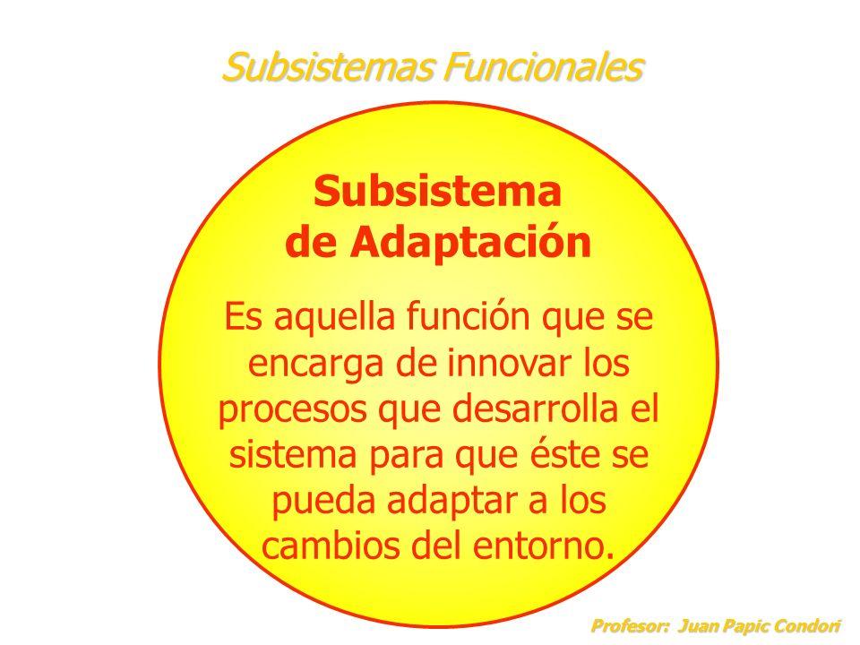 Subsistemas Funcionales Profesor: Juan Papic Condori Profesor: Juan Papic Condori Subsistema de Adaptación Es aquella función que se encarga de innova