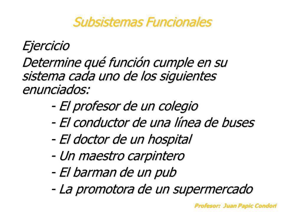 Profesor: Juan Papic Condori Ejercicio Determine qué función cumple en su sistema cada uno de los siguientes enunciados: - El profesor de un colegio -