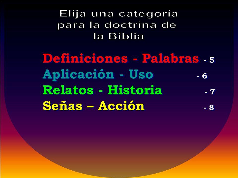 Definiciones - Palabras - 5 Aplicación - Uso - 6 Relatos - Historia - 7 Señas – Acción - 8 Definiciones - Palabras - 5 Aplicación - Uso - 6 Relatos - Historia - 7 Señas – Acción - 8