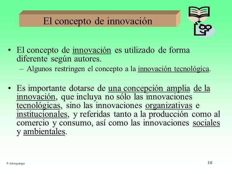 16 El concepto de innovación El concepto de innovación es utilizado de forma diferente según autores. –Algunos restringen el concepto a la innovación