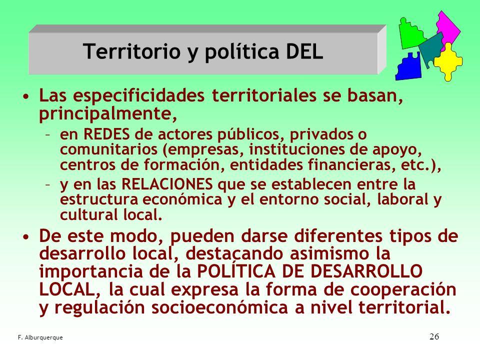 26 Territorio y política DEL Las especificidades territoriales se basan, principalmente, –en REDES de actores públicos, privados o comunitarios (empre