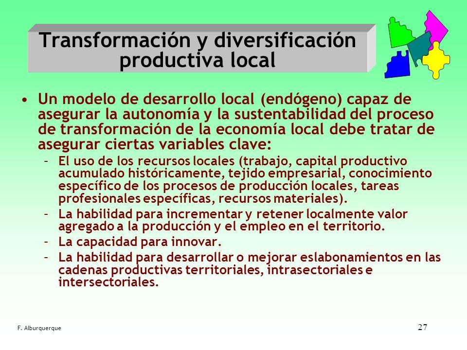 27 Transformación y diversificación productiva local Un modelo de desarrollo local (endógeno) capaz de asegurar la autonomía y la sustentabilidad del