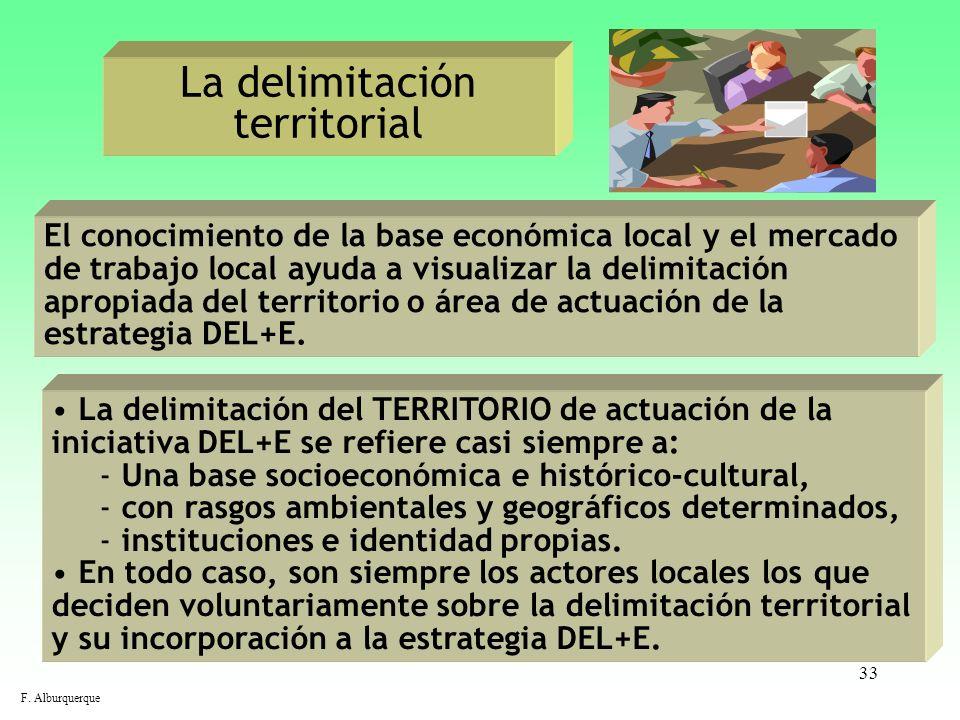 33 La delimitación territorial El conocimiento de la base económica local y el mercado de trabajo local ayuda a visualizar la delimitación apropiada d