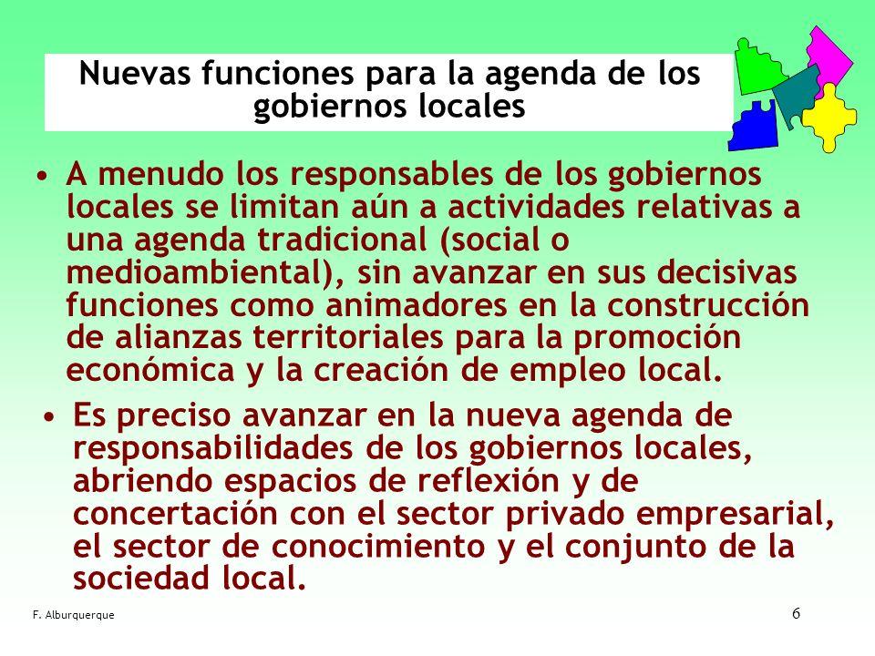 6 Nuevas funciones para la agenda de los gobiernos locales A menudo los responsables de los gobiernos locales se limitan aún a actividades relativas a