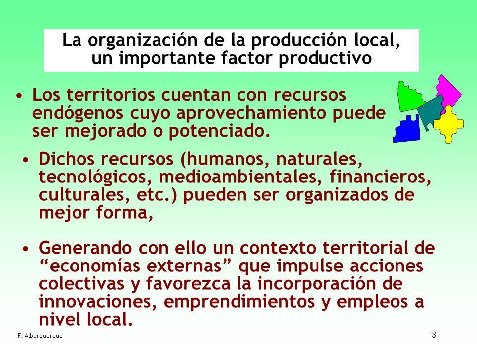 8 La organización de la producción local, un importante factor productivo Los territorios cuentan con recursos endógenos cuyo aprovechamiento puede se