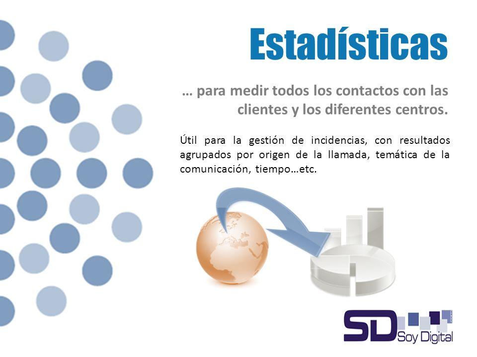 Estadísticas … para medir todos los contactos con las clientes y los diferentes centros.