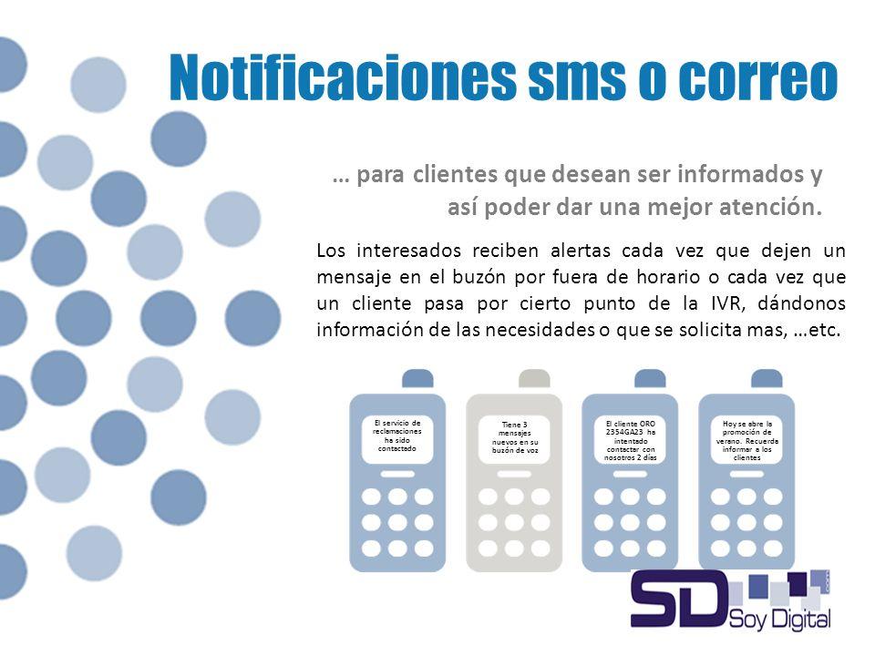 Notificaciones sms o correo Los interesados reciben alertas cada vez que dejen un mensaje en el buzón por fuera de horario o cada vez que un cliente pasa por cierto punto de la IVR, dándonos información de las necesidades o que se solicita mas, …etc.