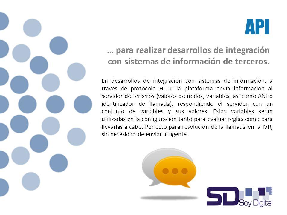 API … para realizar desarrollos de integración con sistemas de información de terceros.