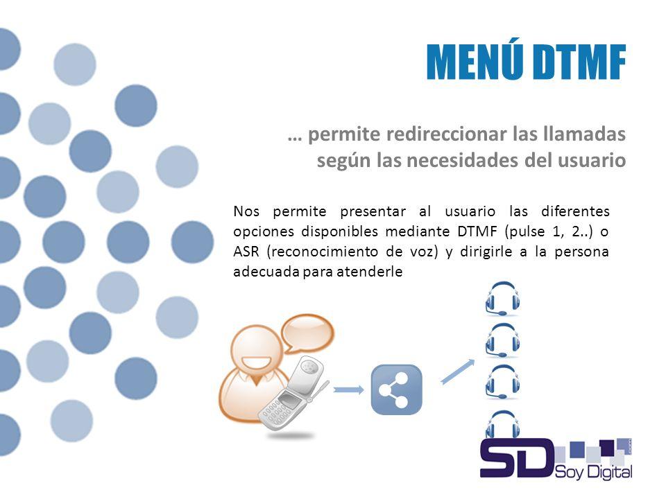 MENÚ DTMF Nos permite presentar al usuario las diferentes opciones disponibles mediante DTMF (pulse 1, 2..) o ASR (reconocimiento de voz) y dirigirle a la persona adecuada para atenderle … permite redireccionar las llamadas según las necesidades del usuario