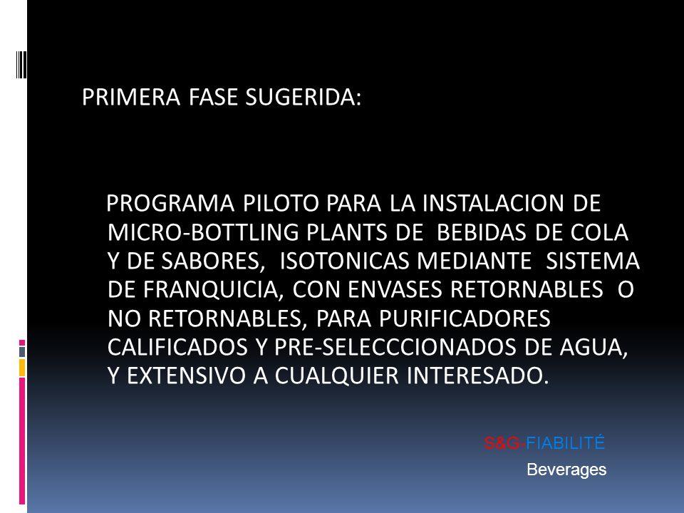 PRIMERA FASE SUGERIDA: PROGRAMA PILOTO PARA LA INSTALACION DE MICRO-BOTTLING PLANTS DE BEBIDAS DE COLA Y DE SABORES, ISOTONICAS MEDIANTE SISTEMA DE FRANQUICIA, CON ENVASES RETORNABLES O NO RETORNABLES, PARA PURIFICADORES CALIFICADOS Y PRE-SELECCCIONADOS DE AGUA, Y EXTENSIVO A CUALQUIER INTERESADO.