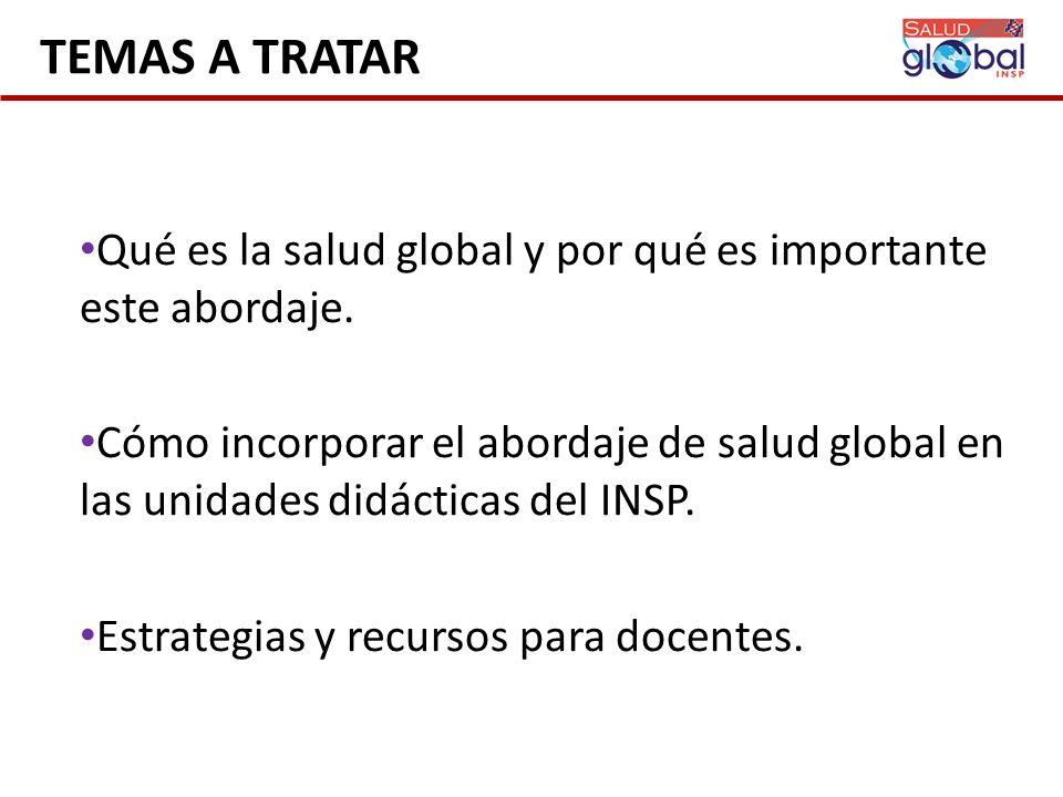 TEMAS A TRATAR Qué es la salud global y por qué es importante este abordaje. Cómo incorporar el abordaje de salud global en las unidades didácticas de